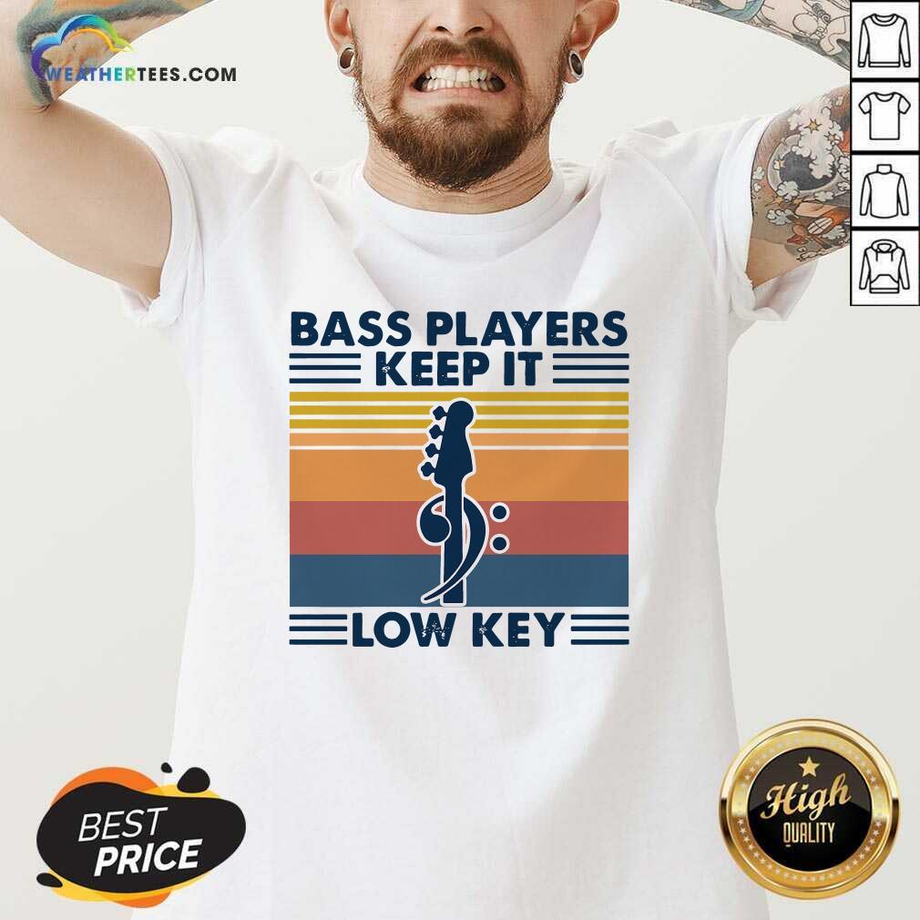 Guitar Bass Players Keep It Low Key Vintage Retro V-neck - Design By Weathertees.com