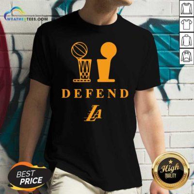 Lebron Lakers Trophy Defend V-neck - Design By Weathertees.com