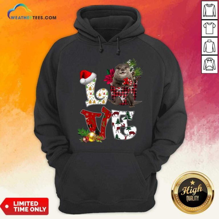 Love North American River Otter Merry Christmas Hoodie - Design By Weathertees.com