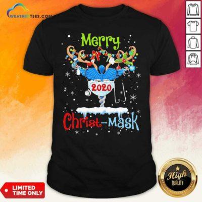 Merry CNA 2020 Christ Mask Christmas Shirt - Design By Weathertees.com