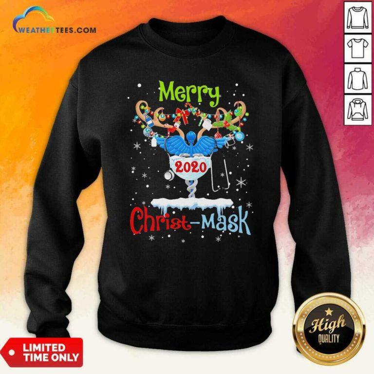 Merry CNA 2020 Christ Mask Christmas Sweatshirt - Design By Weathertees.com