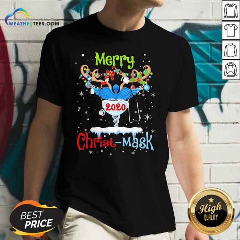 Merry CNA 2020 Christ Mask Christmas V-neck - Design By Weathertees.com