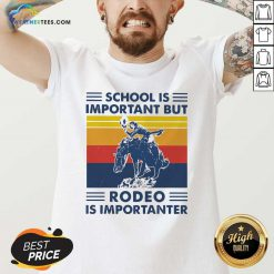 School Is Important But Rodeo Is Importanter Vintage Retro V-neck - Design By Weathertees.com