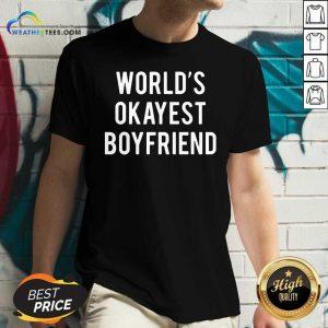 Worlds Okayest Boyfriend V-neck - Design By Weathertees.com