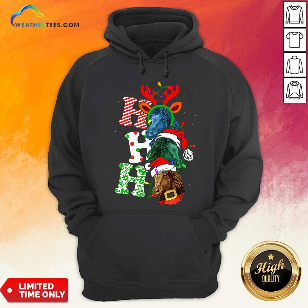 Ho Ho Ho Horses Santa Elf Reindeer Merry Christmas Light Hoodie - Design By Weathertees.com
