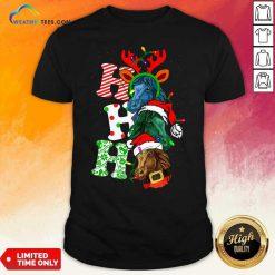 Ho Ho Ho Horses Santa Elf Reindeer Merry Christmas Light Shirt - Design By Weathertees.com