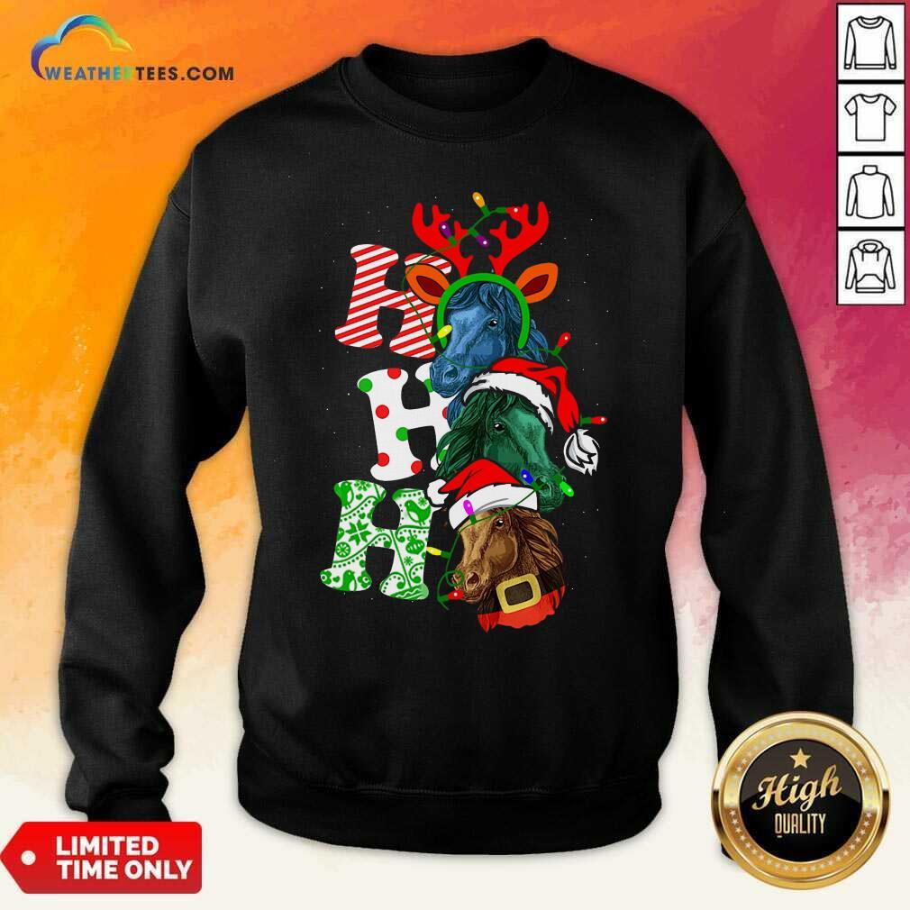 Ho Ho Ho Horses Santa Elf Reindeer Merry Christmas Light Sweatshirt - Design By Weathertees.com