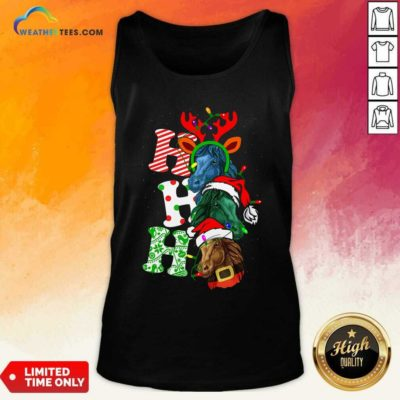 Ho Ho Ho Horses Santa Elf Reindeer Merry Christmas Light Tank Top - Design By Weathertees.com