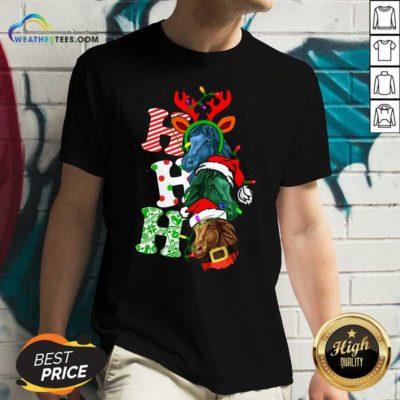 Ho Ho Ho Horses Santa Elf Reindeer Merry Christmas Light V-neck - Design By Weathertees.com