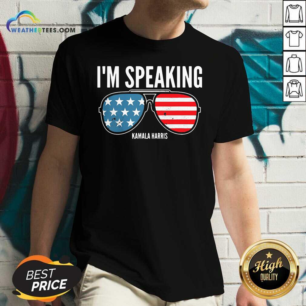I'm Speaking Kamala Hirris Sun Glasses American Flag V-neck - Design By Weathertees.com