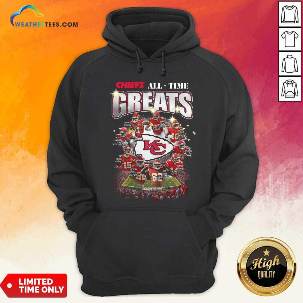 Colorful Kansas City Chiefs All Time Greats Signatures Hoodie - Design By Weathertees.com