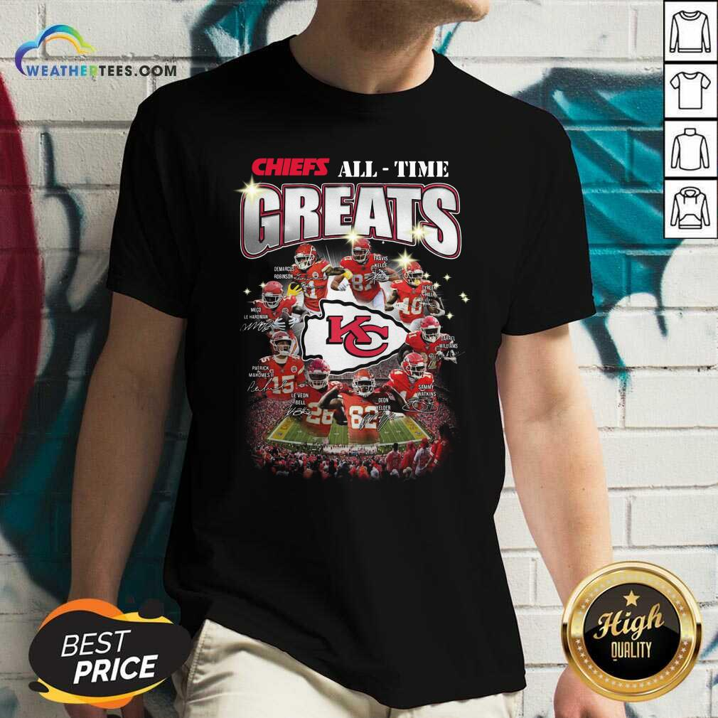 Colorful Kansas City Chiefs All Time Greats Signatures V-neck