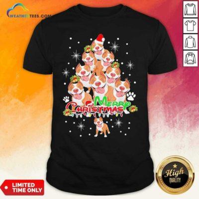 Merry Pitmas Pitbull Christmas Tree Dogs Shirt