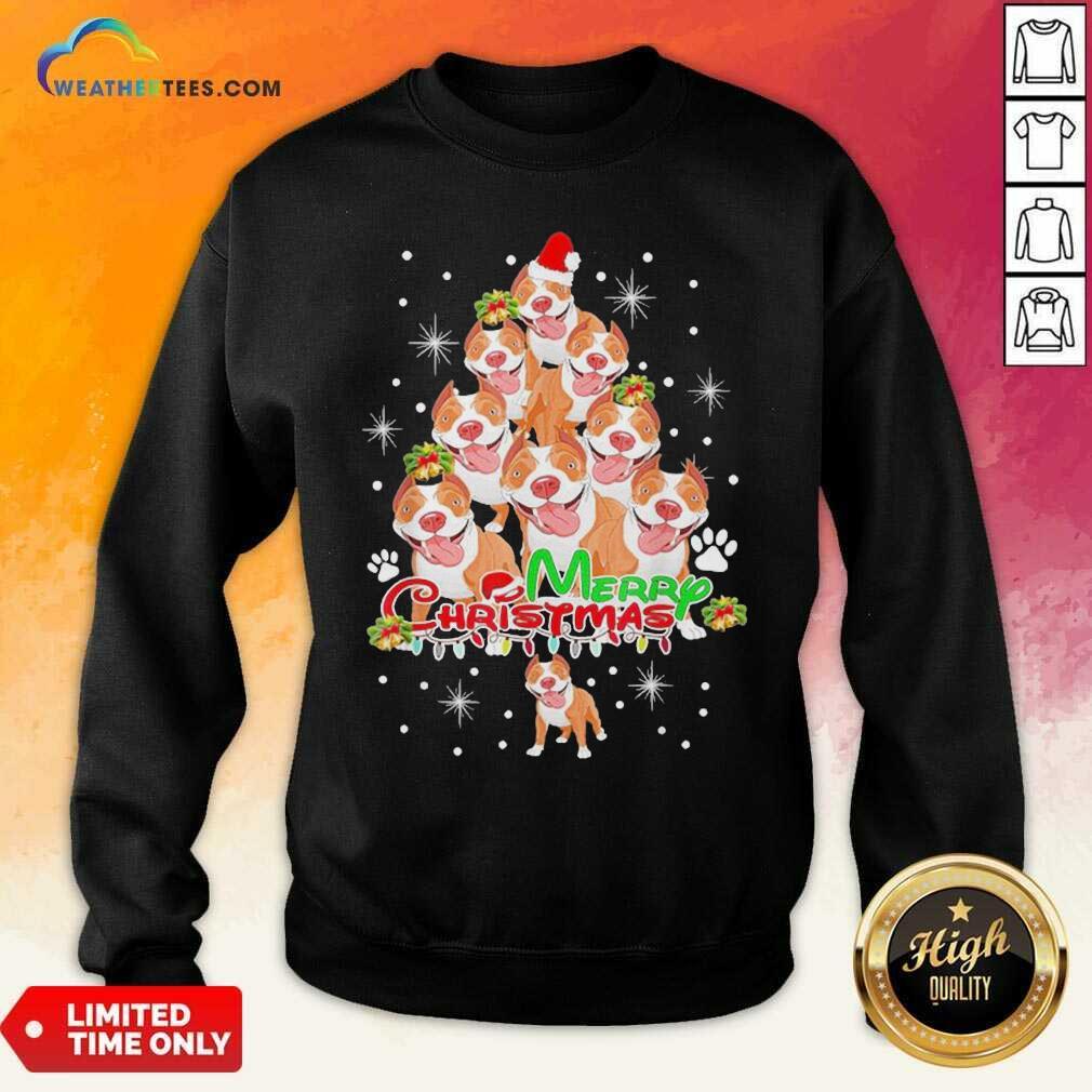 Merry Pitmas Pitbull Christmas Tree Dogs Sweatshirt - Design By Weathertees.com