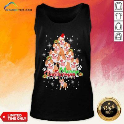 Merry Pitmas Pitbull Christmas Tree Dogs Tank Top