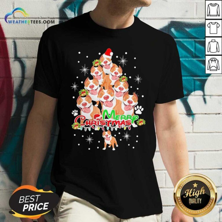 Merry Pitmas Pitbull Christmas Tree Dogs V-neck