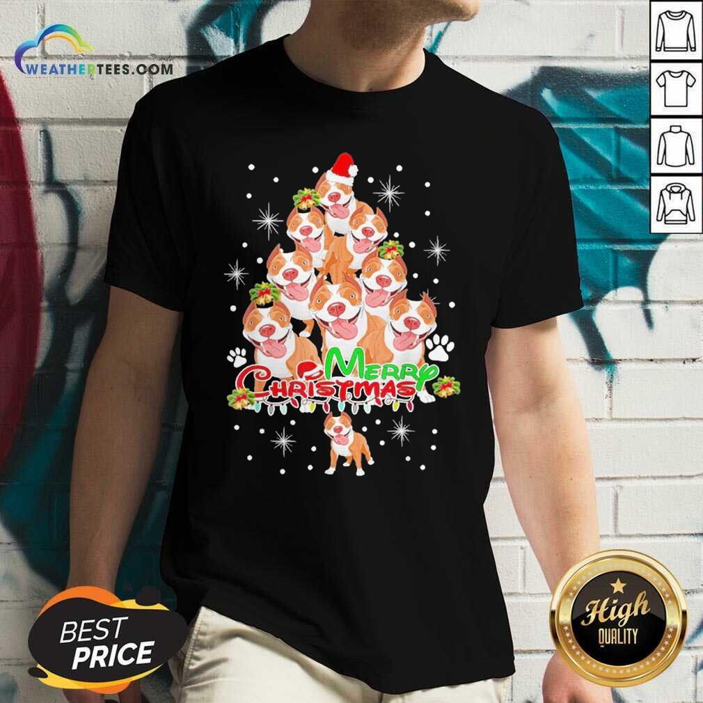 Merry Pitmas Pitbull Christmas Tree Dogs V-neck - Design By Weathertees.com