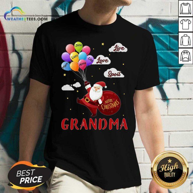Santa Claus Merry Christmas Grandma Live Love Spoil V-neck - Design By Weathertees.com