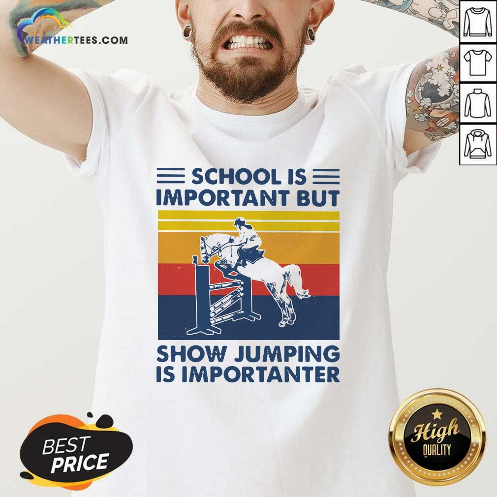 School Is Important But Show Jumping Is Importanter Vintage Retro V-neck - Design By Weathertees.com