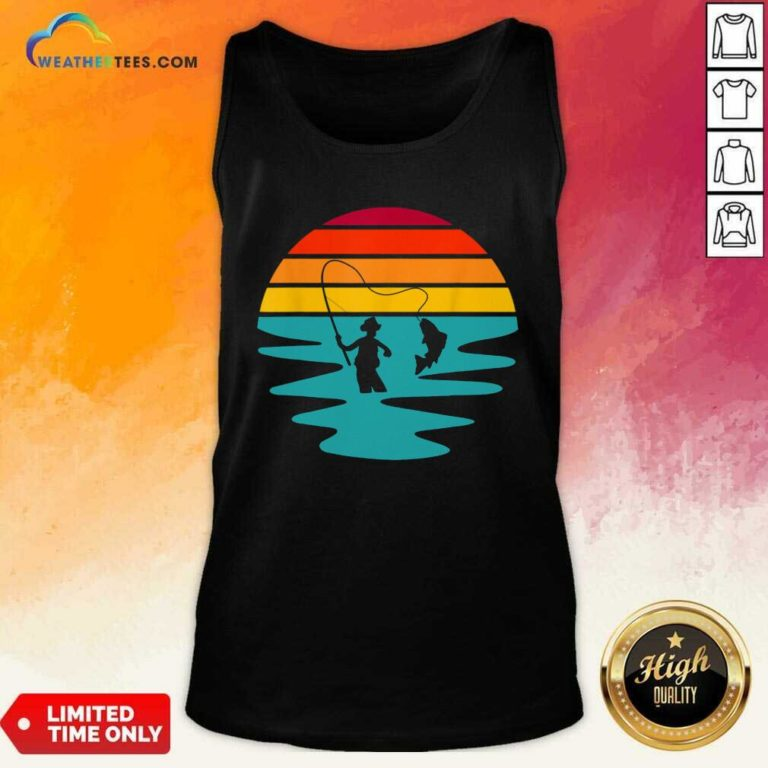 Sunset Artificial Nymph Fly Fishing Vintage Tank Top - Design By Weathertees.com