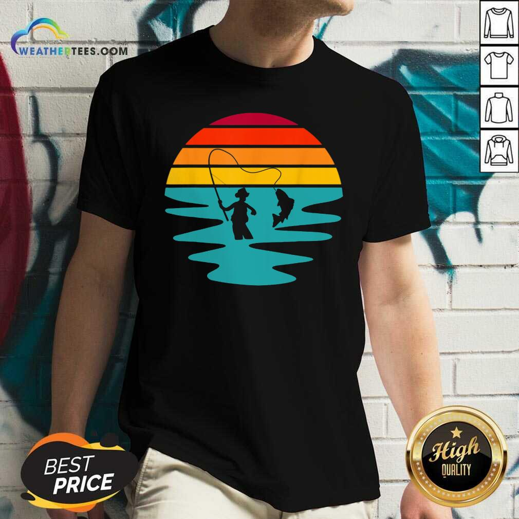 Sunset Artificial Nymph Fly Fishing Vintage V-neck - Design By Weathertees.com