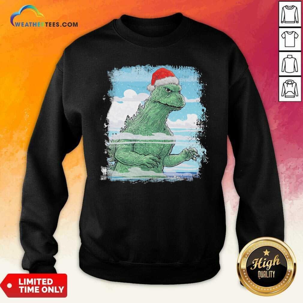 T-Rex Wear Hat Santa Claus Merry Christmas Sweatshirt - Design By Weathertees.com