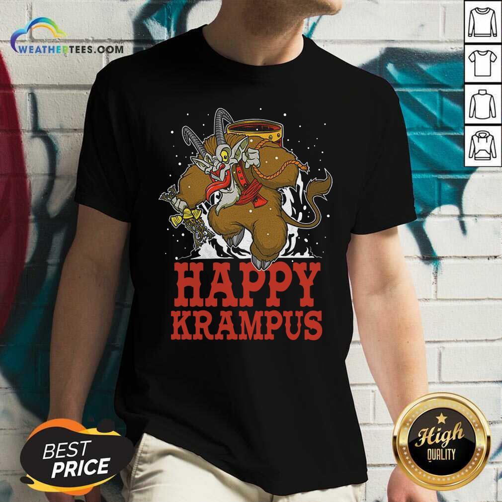 Happy Krampus Merry Christmas V-neck - Design By Weathertees.com