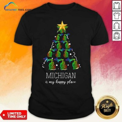 Michigan Is My Happy Place Merry Christmas Tree Shirt - Design By Weathertees.com