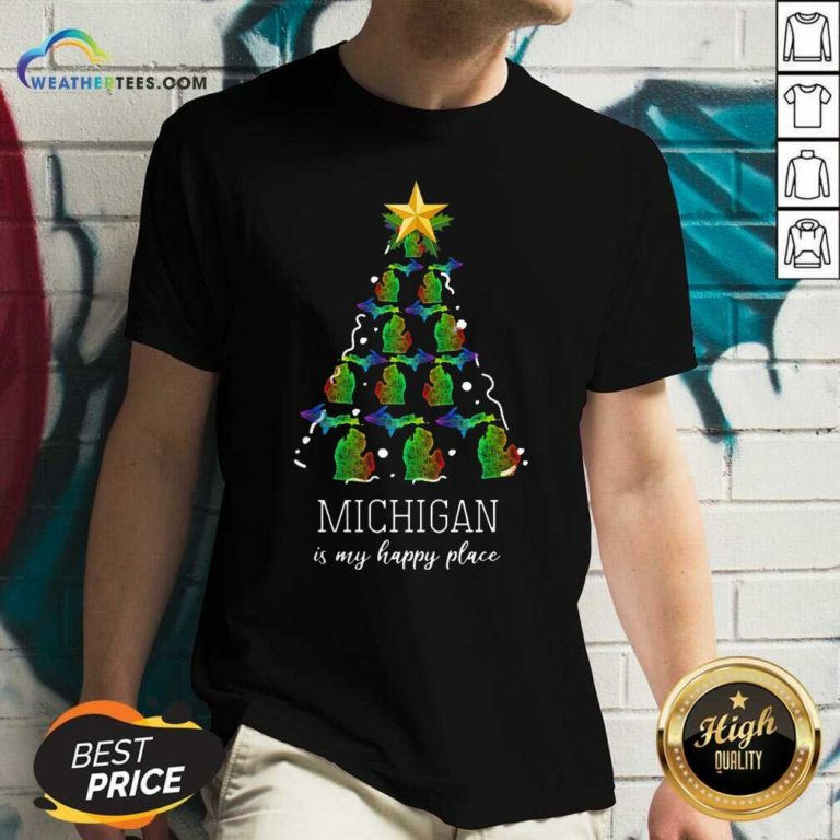 Michigan Is My Happy Place Merry Christmas Tree V-neck - Design By Weathertees.com