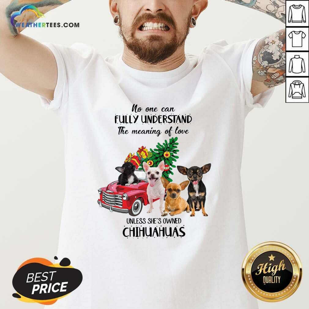 No One Can Fully Understand The Meaning Of Love Chihuahuas Christmas V-neck - Design By Weathertees.com