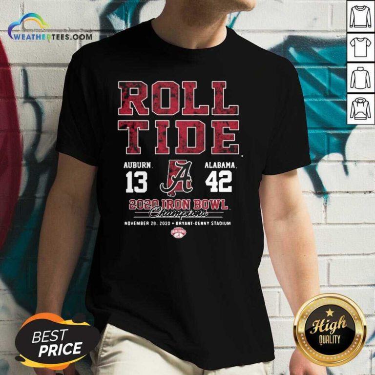 Roll Tide Auburn And Alabama 2020 Iron Bowl Champions V-neck - Design By Weathertees.com