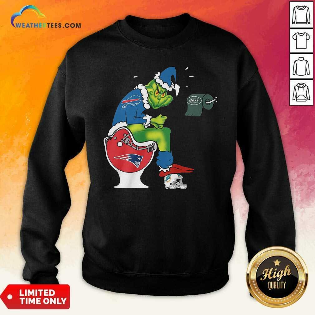 The Grinch Buffalo Bills Shit On Toilet New England Patriots Christmas Sweatshirt - Design By Weathertees.com