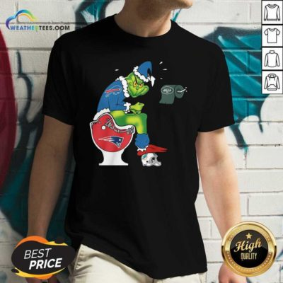 The Grinch Buffalo Bills Shit On Toilet New England Patriots Christmas V-neck - Design By Weathertees.com