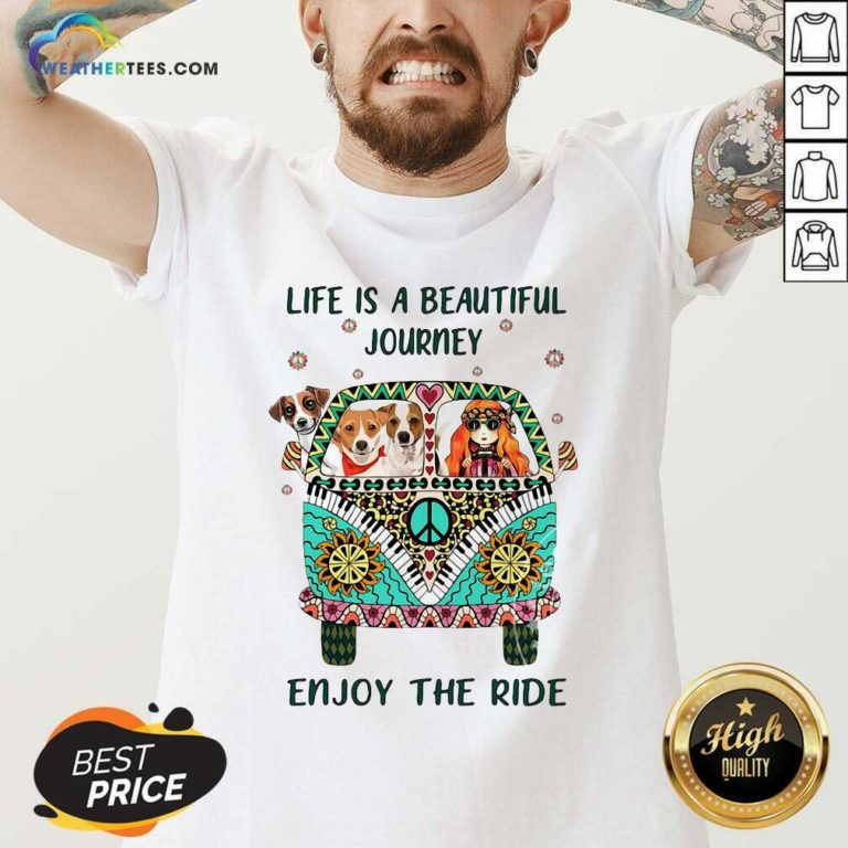 Hippie Bus Girl And Dog Life Is A Beautiful Journey Enjoy The Ride V-neck - Design By Weathertees.com