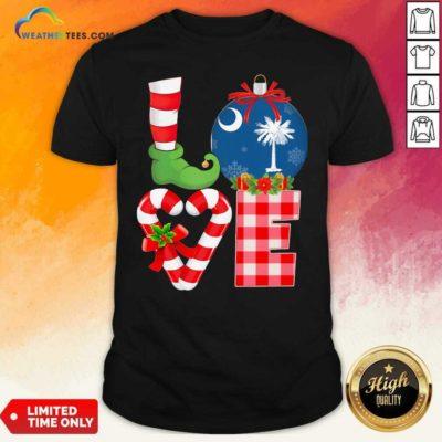 Love South Carolina State Flag Pajama Elf Merry Christmas Shirt - Design By Weathertees.com