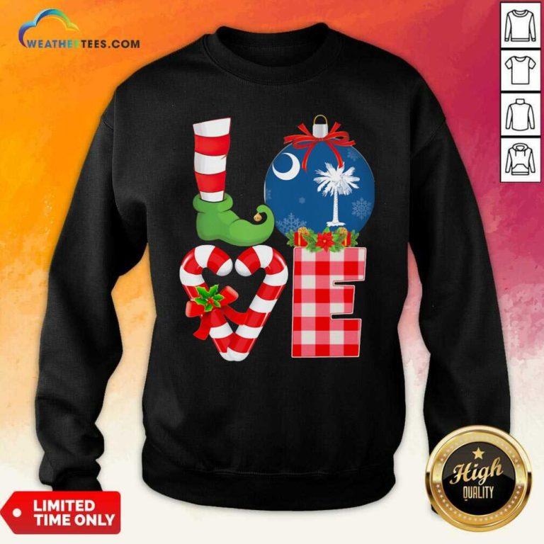 Love South Carolina State Flag Pajama Elf Merry Christmas Sweatshirt - Design By Weathertees.com