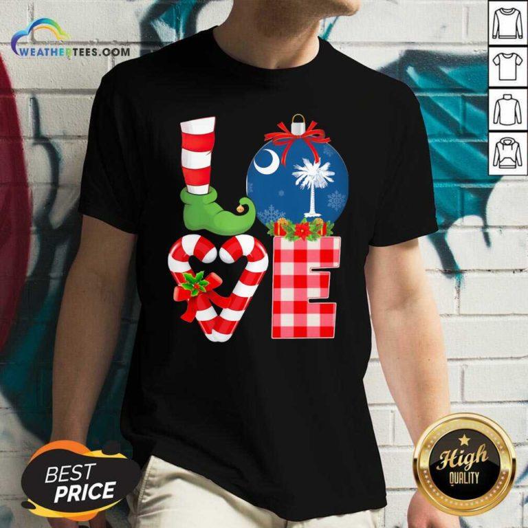 Love South Carolina State Flag Pajama Elf Merry Christmas V-neck - Design By Weathertees.com