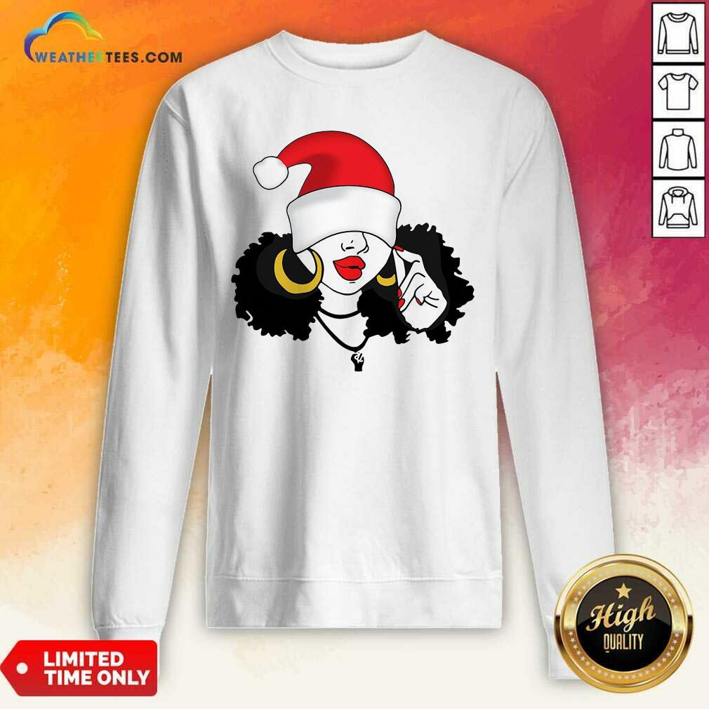 Merry Christmas Black Girl Magic Sweatshirt - Design By Weathertees.com