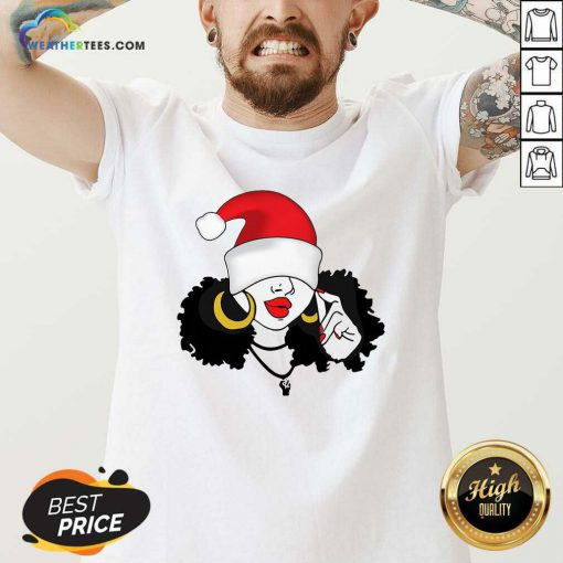 Merry Christmas Black Girl Magic V-neck - Design By Weathertees.com