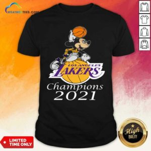 Mickey Mouse Los Angeles Lakers Champions 2021 Shirt - Design By Weathertees.com