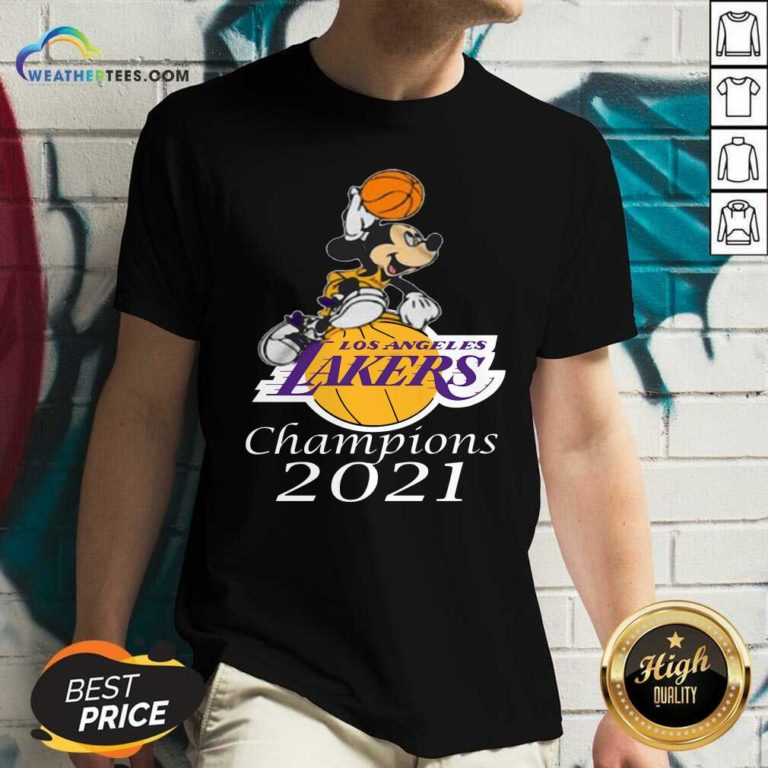 Mickey Mouse Los Angeles Lakers Champions 2021 V-neck - Design By Weathertees.com