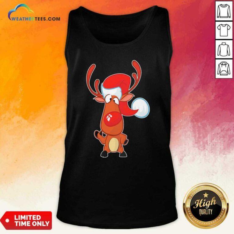Reindeer Santa Christmas Tank Top - Design By Weathertees.com