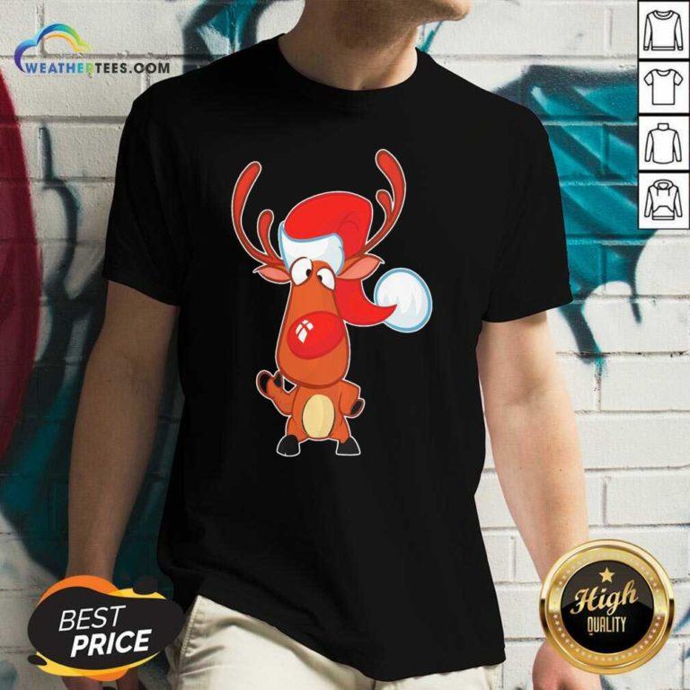 Reindeer Santa Christmas V-neck - Design By Weathertees.com