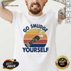 Sage Bundle Smoking Go Smudge Yourself Vintage Retro V-neck - Design By Weathertees.com
