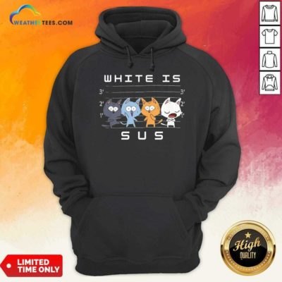 White Is Sus The Cat Hoodie - Design By Weathertees.com