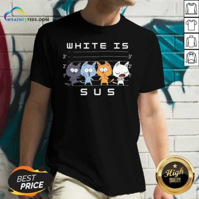 White Is Sus The Cat V-neck - Design By Weathertees.com
