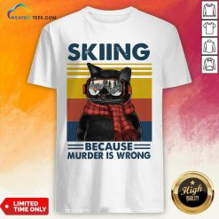 Black Cat Skiing Because Murder Is Wrong Vintage Retro Shirt - Design By Weathertees.com