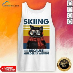 Black Cat Skiing Because Murder Is Wrong Vintage Retro Tank Top - Design By Weathertees.com