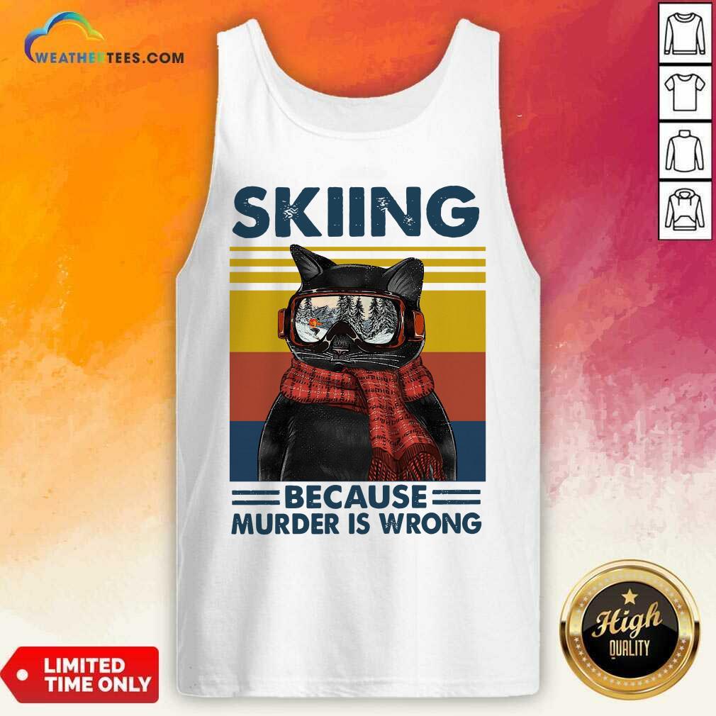 Black Cat Skiing Because Murder Is Wrong Vintage Retro Tank Top - Design By Weathertees.com