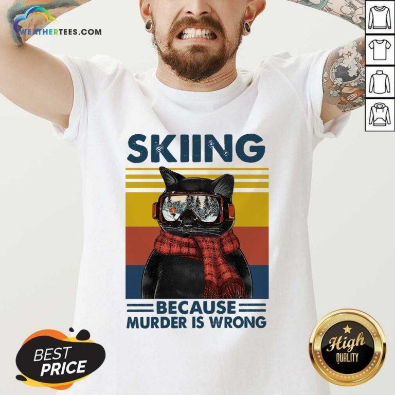 Black Cat Skiing Because Murder Is Wrong Vintage Retro V-neck - Design By Weathertees.com